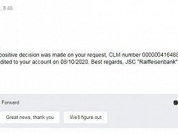 "Refunds from JSC ""Raiffeisenbank"""